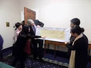 The visitors presented Minister O' Dowd with a beautiful piece of calligraphy